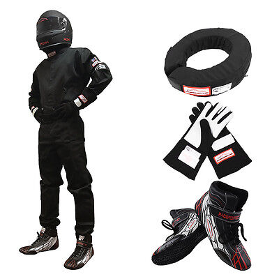 Race Suit Combo 1 Piece Fire Suit, Shoes, Gloves, 360 Helmet Support Sfi 3-2A/1