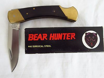 "Bear Hunter Solingen Lb-5 3 1/2"" Lockblade Folding Hunter Bowie Knife New In Box"