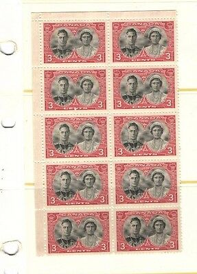 CANADA MINT STAMPS MNH 1939 BLOCK OF 10 - . 3c ROYAL VISIT # 248