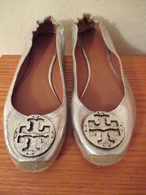 TORY BURCH SILVER LEATHER REVA CASUAL SHOES FLATS,  Size 8 1/2 M, NICE