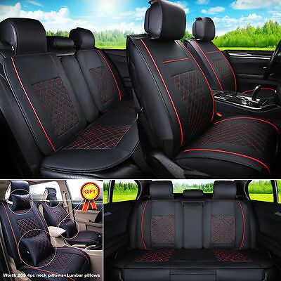 HOT Black/Red 5-Seats Car PU Leather Seat Cover Front+Rear w/Neck Lumbar Pillows