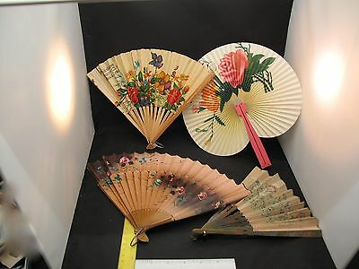 Lot of 4 Vintage Folding Hand Fans Painted Wood Paper