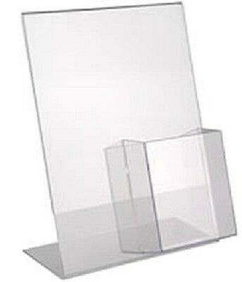 Clear Lucite Plexiglass Acrylic Slanted Sign Holder Brochure with Pocket Holder