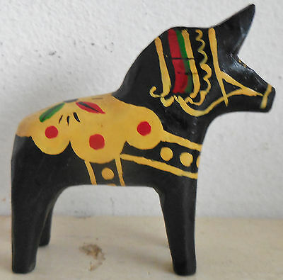 Vintage Black Small  Dala Swedish  Wooden Wood Horse Folkart Primitive