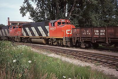 CN GP40-2W # 9647 On Work Local at Midland