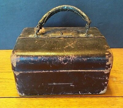 Antique Medical Doctors Leather Bag Satchel House Call Buggy Box Travel Kit Vtg