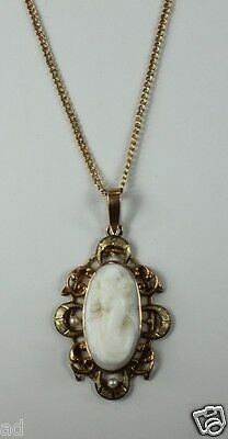 """Antique Hand Carved White Cameo 10k Gold Fill Lavalier Pendant Necklace 21"""" +L"""
