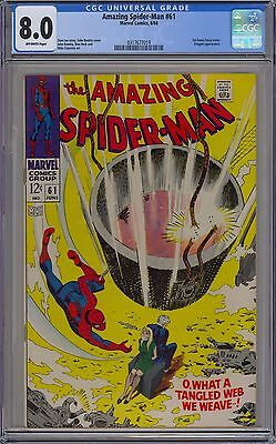 Amazing Spider-Man #61 CGC 8.0 VF Owp 1st Gwen Stacy Cvr Key Marvel Comics 1968