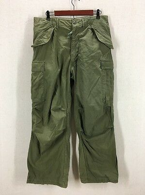 Vintage 1972 US Army Cold Weather OG 107 Sateen Combat Pants Trousers Sz Med