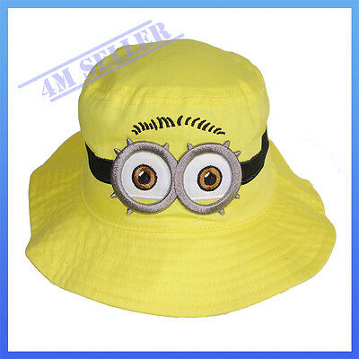 Kids Girls Boys Sun Cotton Cap Bucket Hat Brim Summer Minions Despicable Me
