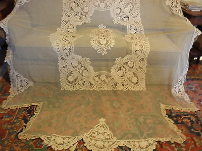 Exquisite Antique Battenburg Tape Net Lace Coverlet Bedspread   Pillow Sham