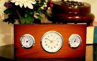 Wooden Desk Table Clock Home Business Office Decoration Thermometer Gift idea