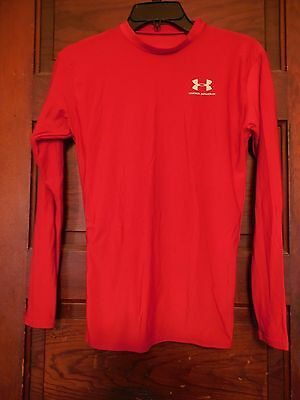 """Boys """"under Armour"""" Red - Dry Fit Compression Shirt - Size L"""