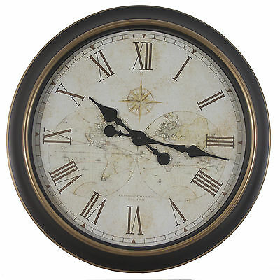 """Oversized 24"""" Antique Map Wall Clock Darby Home Co Free Shipping High Quality"""