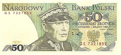 Poland 50 Zlotych 1.12.1988 P 142c Prefix GS Uncirculated Banknote G 11