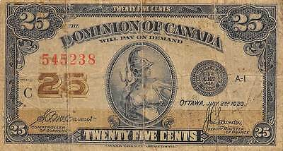 Canada  25 cents 7.2.1923 Series C  circulated Banknote NS10