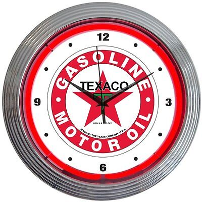 "Texaco 15"" Gasoline Neon Wall Clock Neonetics Free Shipping High Quality"