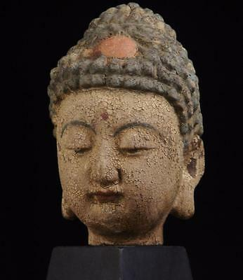 BUDDHA HEAD: Tibetan, Painted Wood, 7 inches Tall, late 1800's