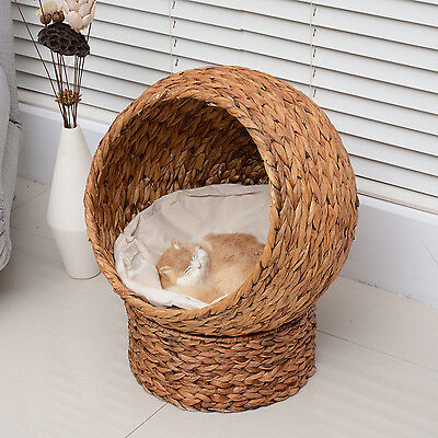 CLEARENCE Elevated Cat House Tree Kitty Condo Bed Banana Leaf Cave w/ Cushion