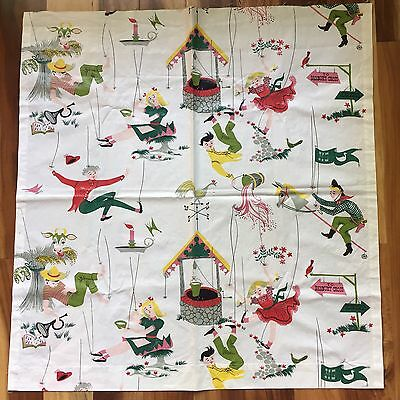 Vintage Kandell Mother Goose Chintz Fabric Remnant