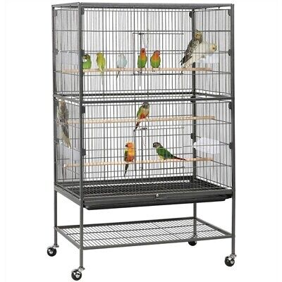 "52"" Bird Cage Parrot Chinchilla Cockatiel Conure Large w/Stand, 2 Doors, 4 Cups"