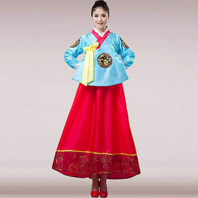 Blue  Korean Traditional Clothes Dress HANBOK WOMAN with silver hanbok Costume