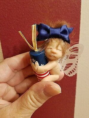 OOAK Tiny Polymer Clay Full Sculpt Baby girl fairy art doll, baby Fizzle
