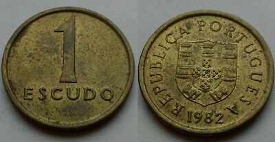 Portugal 1 Escudo 1982. KM#614. Nickel Brass One Dollar coin.