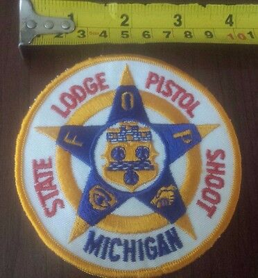 Michigan State Lodge Pistal Shoot Michigan Embroidery Patch FOP Police