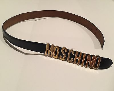 MOSCHINO BY REDWALL Vtg Logo Belt Leather Black 40 in. Total Length Italy 401020