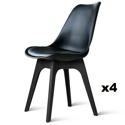 4 x Padded Retro Replica Eames Eiffel DSW Dining Chairs Cafe Kitchen Black Legs