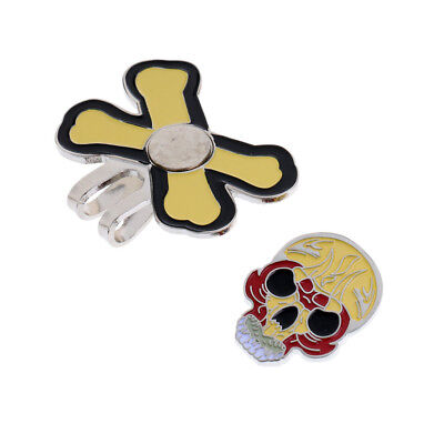 Sturdy Punk Skull Magnetic Hat Clip Golf Ball Markers Fit for Golf Cap Visor