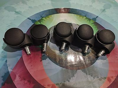 Office Chair Stem Casters Set of 5 - Swivel Wheel Roller Lot Replacement 7/16