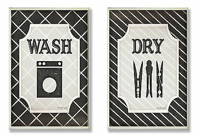 Wash and Dry 2 Piece Black and White Laundry Wall Plaque Stupell Industries