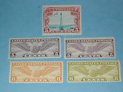Air Mail Stamps (C 11, C 12, C 16, C 17, C 19) Mint, previously hinged