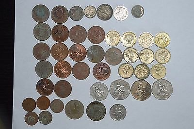 Mixed lot of British Coins -- Pounds - Pence Circulated