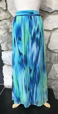 Chicos Watercolor Blue Green Maria Maxi Skirt New $109.00 Sz 2 = M, L