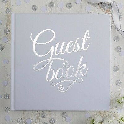 White & Silver Foil Wedding Guest Book