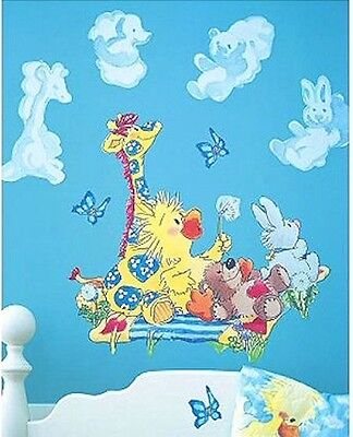 Little Suzy's Zoo Baby Animals Nursery Wall Mural Duck Bear Bunny Giraffe Clouds