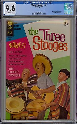 The Three Stooges #42 CGC 9.6 NM+ Wp Gold Key 1969 Larry Moe & Curly Photo Cover