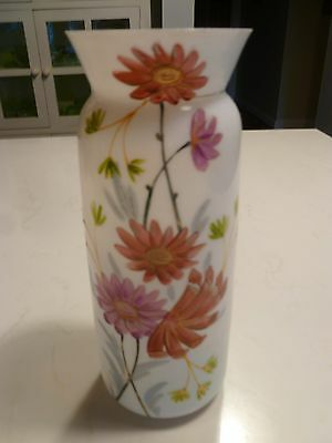 Victorian Hand Painted Glass Mantle vase