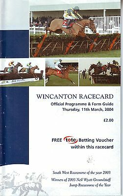 Wincanton Racecard Thursday 11 March 2004 Vgc