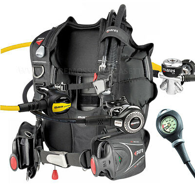 Diving Equipment Mares Package Bcd Pure Size X Large Yoke Regulator Abyss Gauge