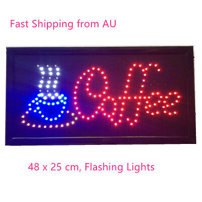 Small Coffee LED SIGN LIGHT Plate! Business Shop Bar Restaurant Cafe 48X25cm