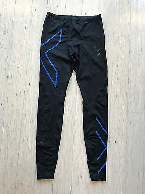 2XU mens Elite black blue full length compression tights, size medium tall