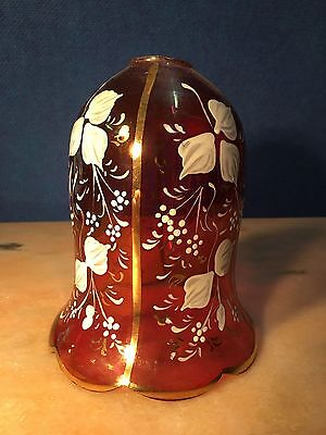 Antique English Victorian Cranberry Glass Hand Decorated Light Lamp Shade