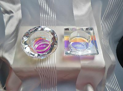 Oleg Cassini Glass Iridescent set of 2 Votive Holders New in Box