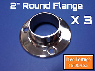"""3 X Round Flange 316 Stainless Steel 2"""" Handrail Fitting Balustrade Base Plate"""