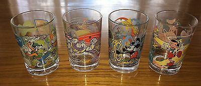 "McDonalds/Disney 100 Year Anniversary Glasses 5"" Tall 14 oz. - Set Of 4"