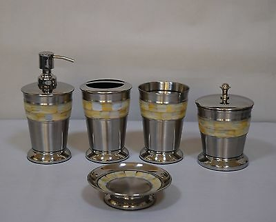 Mother of Pearl 5 Piece Bathroom Accessory Set Fashion Home Free Shipping